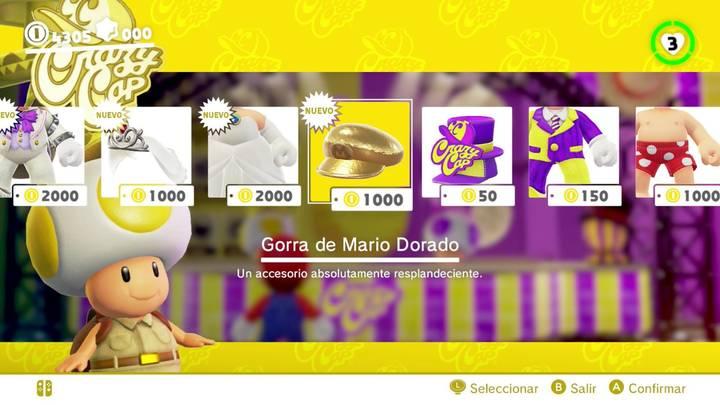 Gorra de Mario dorado Super Mario Odyssey