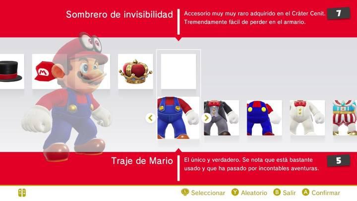 Sombrero de invisibilidad Mario Super Mario Odyssey