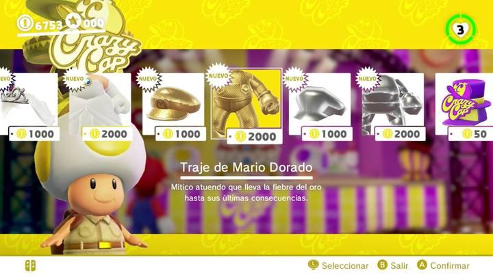Traje de Mario dorado Super Mario Odyssey