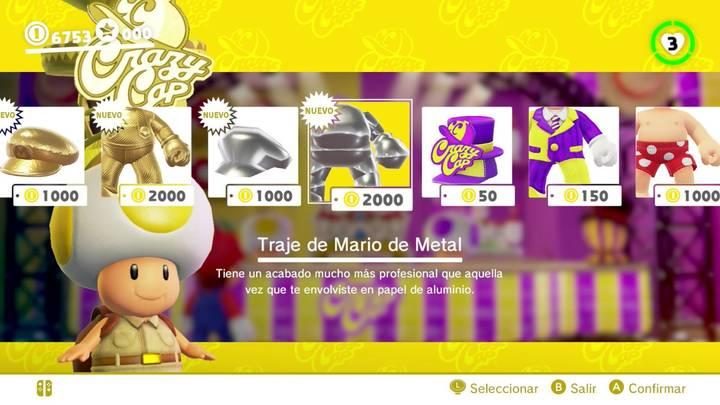 Traje de Mario metálico Super Mario Odyssey