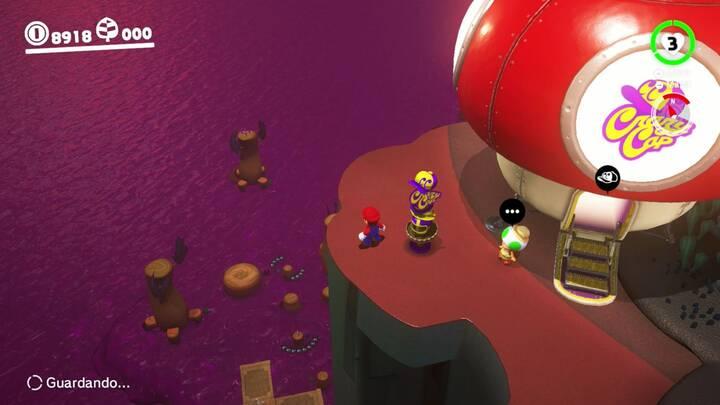 Super Mario Odyssey Monedas Moradas Reino Perdido Columna más alejada