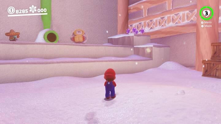 Monedas moradas Super Mario Odyssey Reino del Hielo Zona del poblado