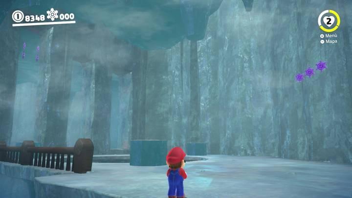 Monedas moradas Super Mario Odyssey Reino del Hielo Primera prueba de la derecha