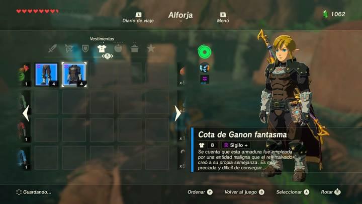 Cota de Ganon Fantasma Zelda Breath Bala de los Elegidos