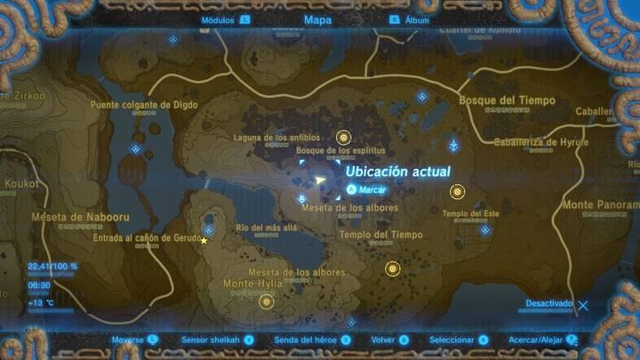 cuatro localizaciones en el mapa Zelda: Breath of the Wild la balada de los elegidos