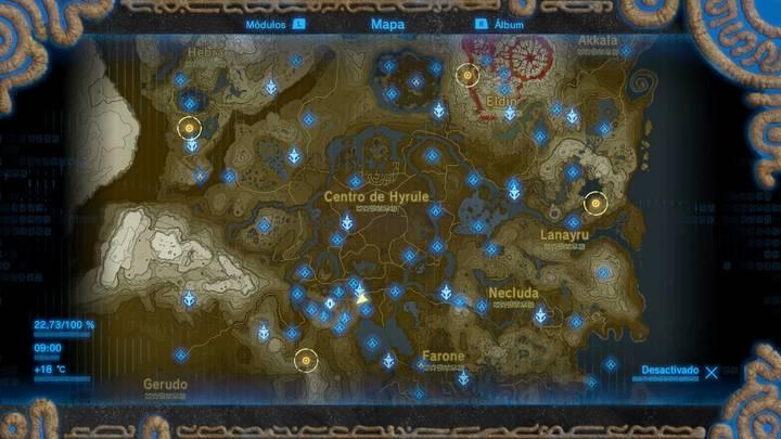 cuatro regiones en el mapa Zelda: Breath of the Wild la balada de los elegidos