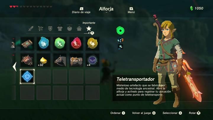Usando el teletransportador Zelda Breath of the Wild