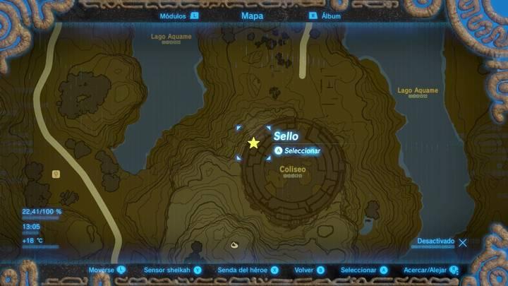 Localización Casco de espectro Zelda Breath of the Wild