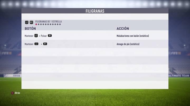 Filigranas de 1 estrella FIFA 18