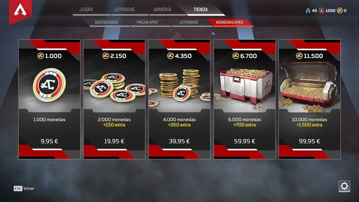 Monedas de pago en APEX Legends
