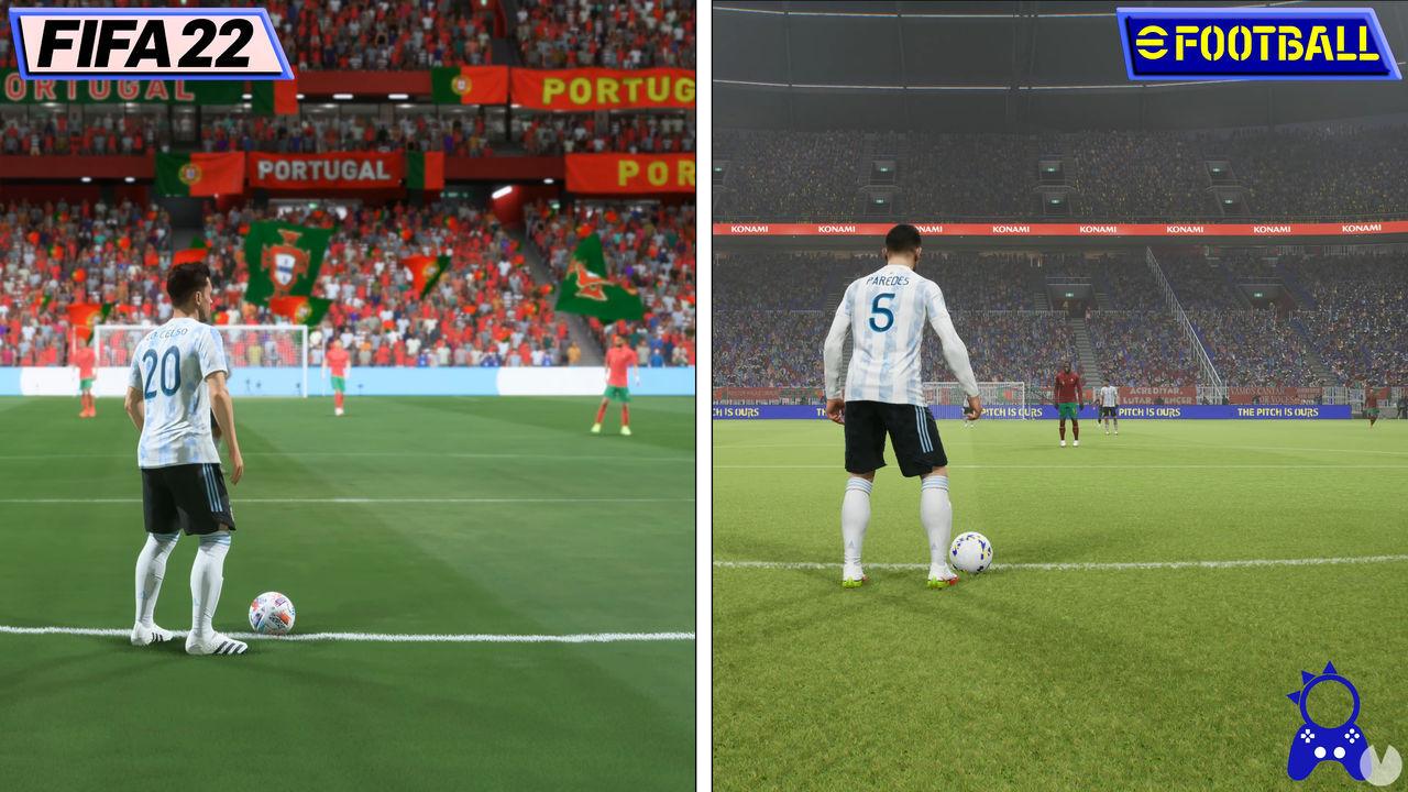eFootball contra FIFA gráficos