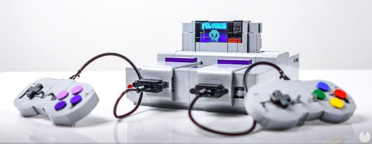 Réplica de SNES con piezas LEGO.