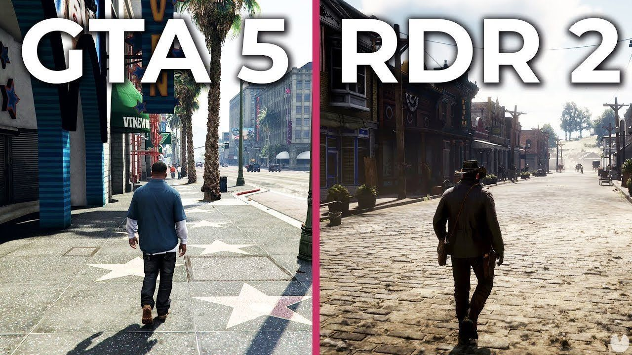 graphical Comparison of Red Dead Redemption 2 on Xbox One X and GTA V PC 4K