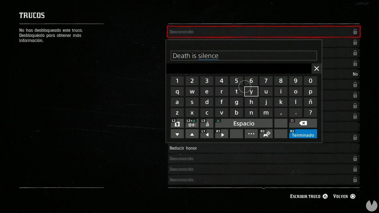 Lista de trucos y claves en Red Dead 2