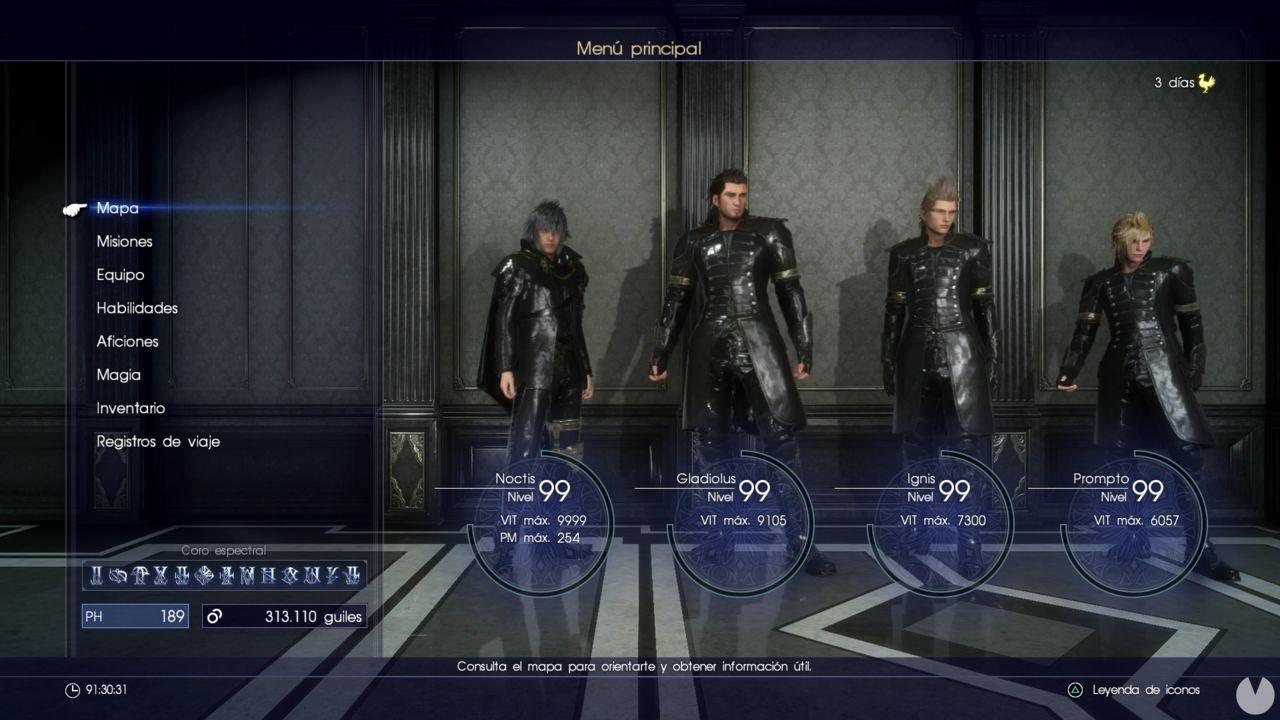 Final Fantasy XV subir de nivel