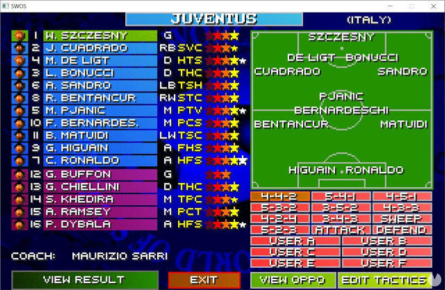 Sensible World of Soccer management and line-ups