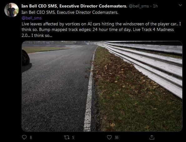 Tuit de Ian Bell mencionando el motor gr