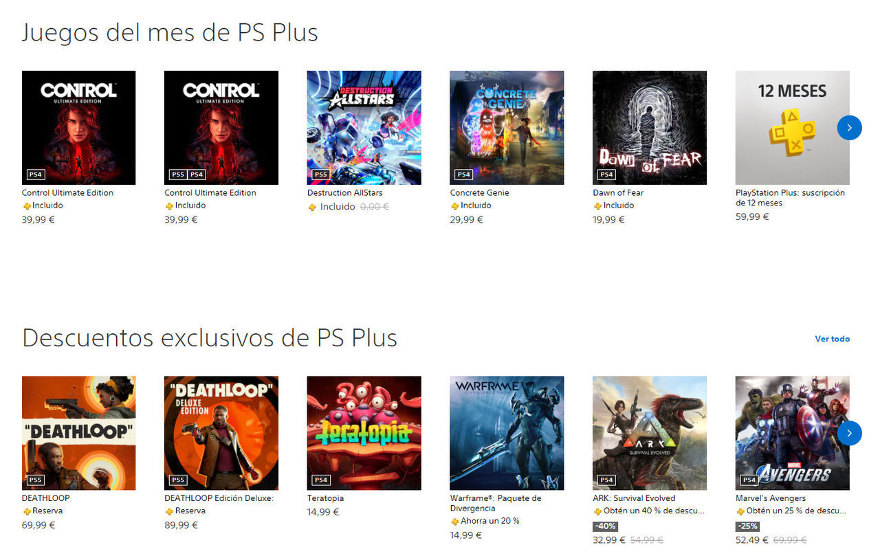 PS Plus dentro de PS Store