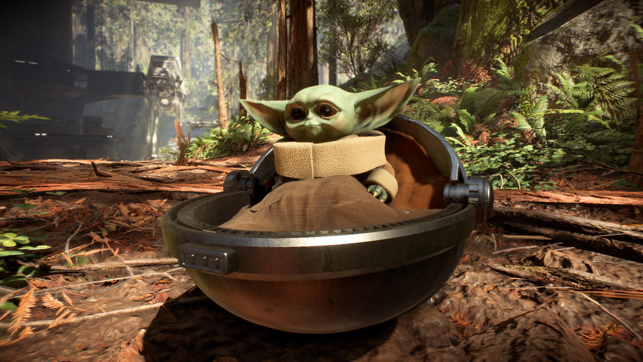 Baby Yoda binds to the template Star Wars Battlefront 2 through a mod