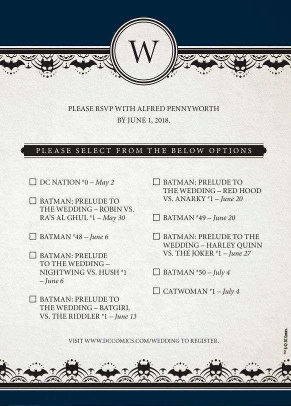 Dc Comics Nos Envía La Invitación De La Boda De Batman Y