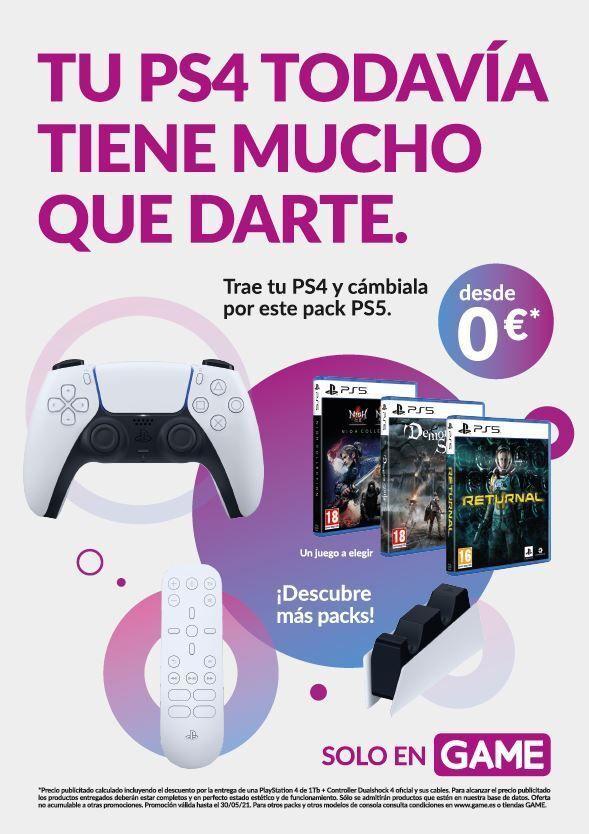 Packs de Bienvenida para PS5 al cambiar PS4 en GAME.