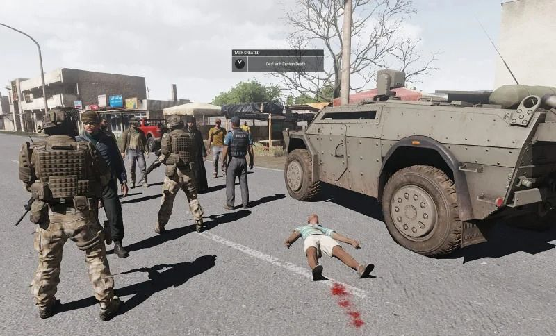 The mod of war Guilt & Remembrance allows you to shoot civilians, and punishes us