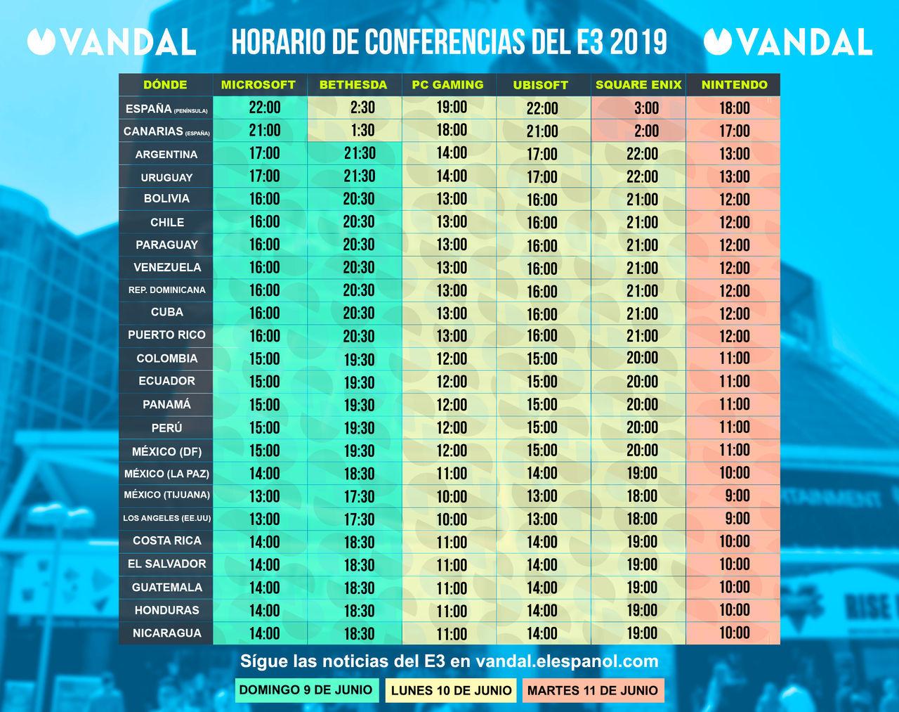 E3 Calendario.E3 2019 Horarios De Las Conferencias Fechas Y Ver Online