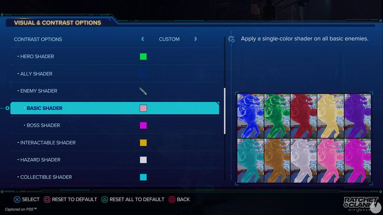 Algunas de las opciones de accesibilidad de Ratchet and Clank: Una dimensión aparte.