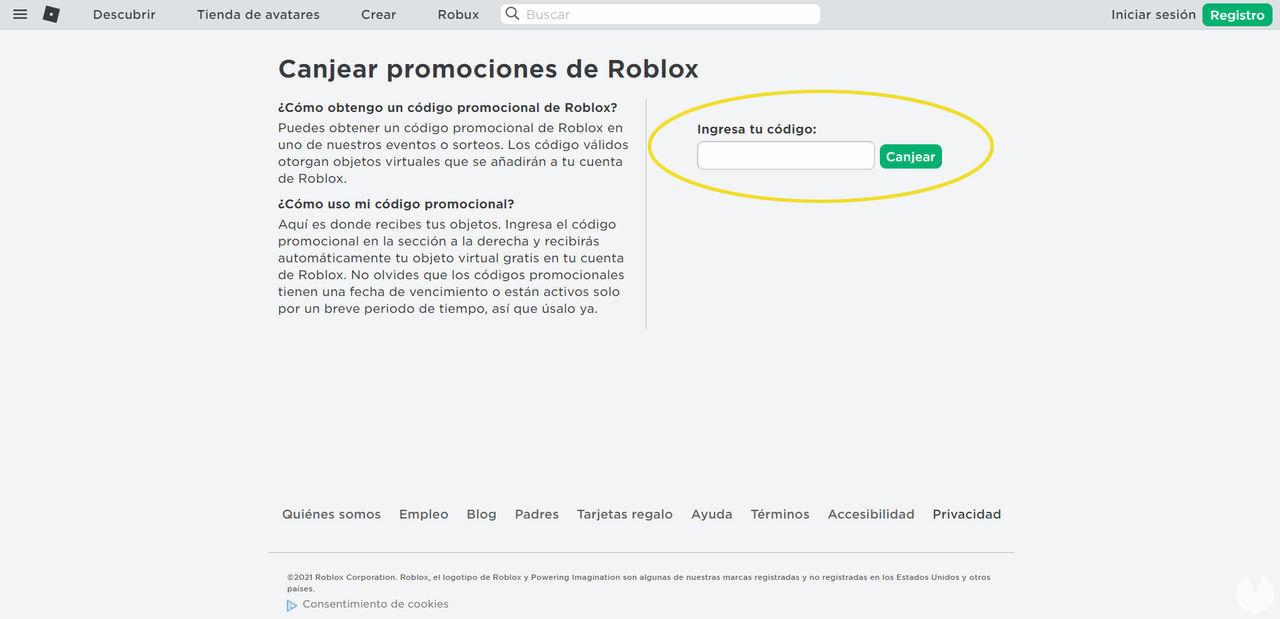 Cómo canjear los códigos promocionales de la web de Roblox