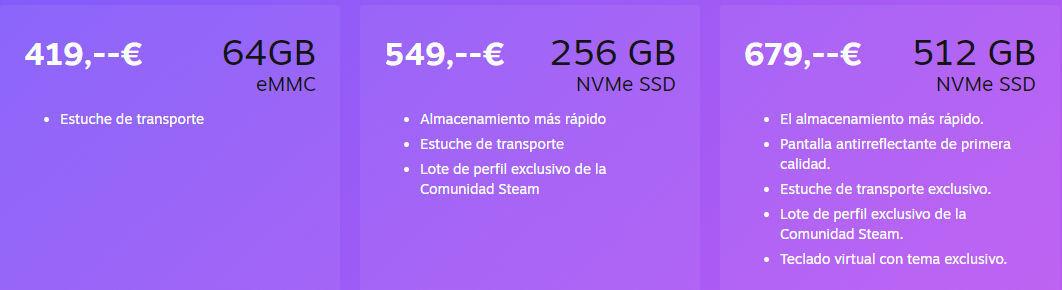 Steam Deck precios
