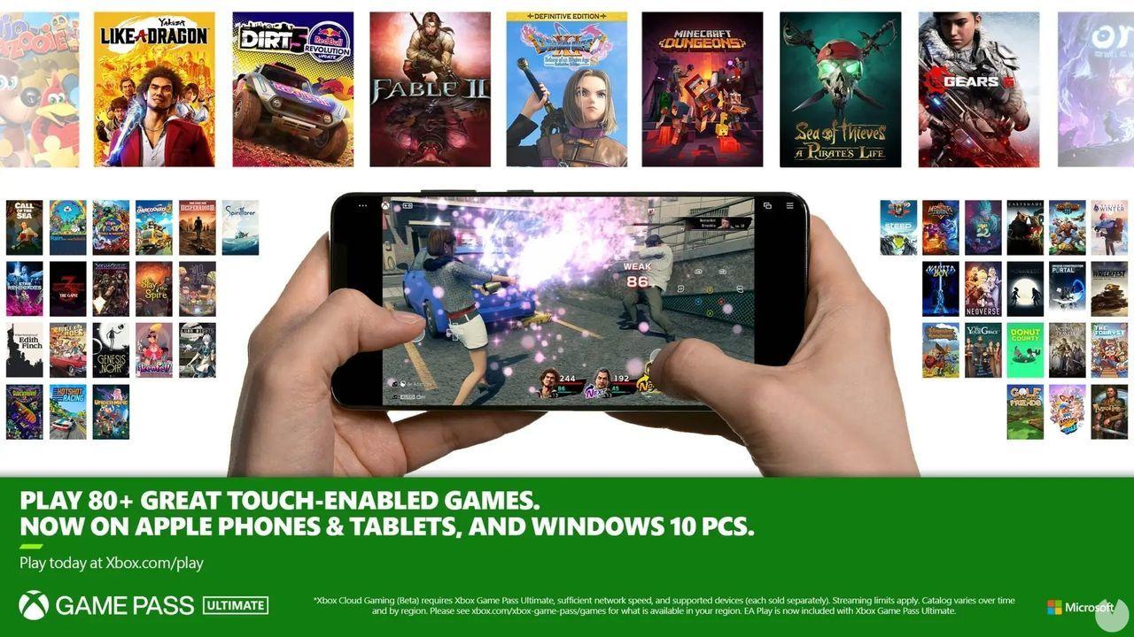 Xbox Cloud Gaming controles táctiles