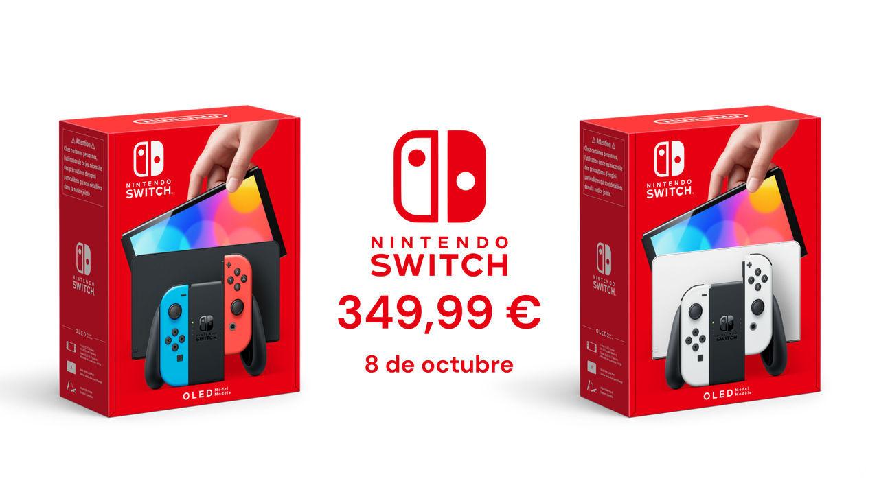 Cajas de Nintendo Switch Modelo OLED con precio y fecha de lanzamiento.