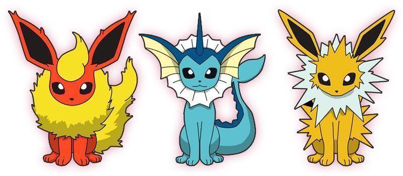 Las tres evoluciones de Eevee