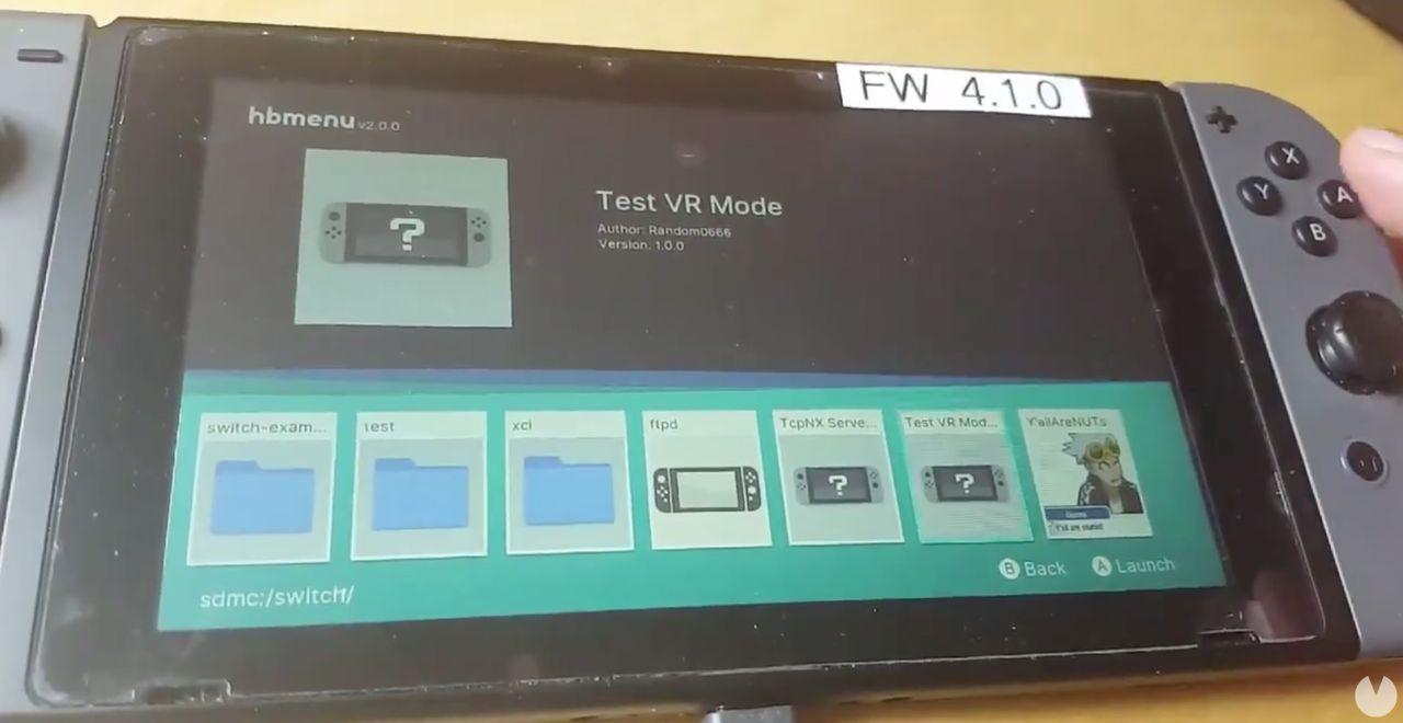 Descubren un menú de prueba para la realidad virtual en Nintendo Switch