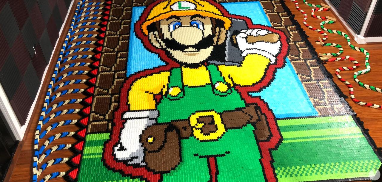 Un homenaje a Super Mario Maker 2 con más de 260.000 fichas de dominó