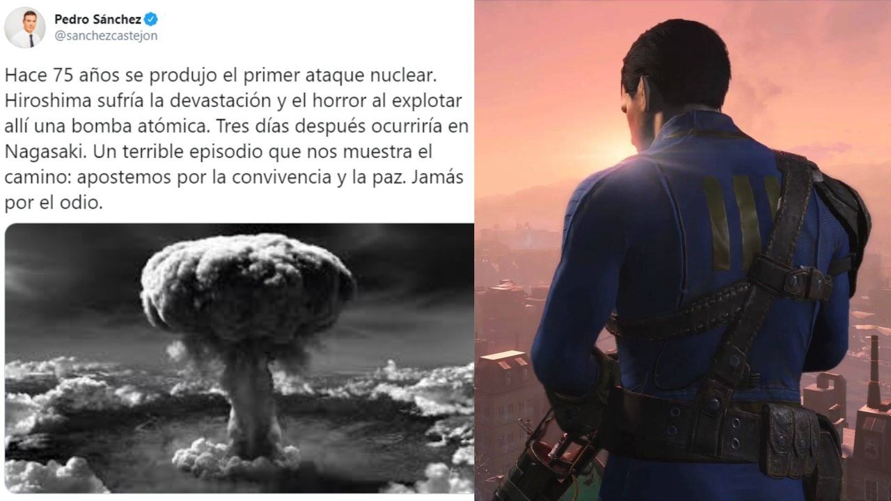 A tweet from Peter Sanchez confused a picture of Fallout 4 with the nuclear attack of Hiroshima