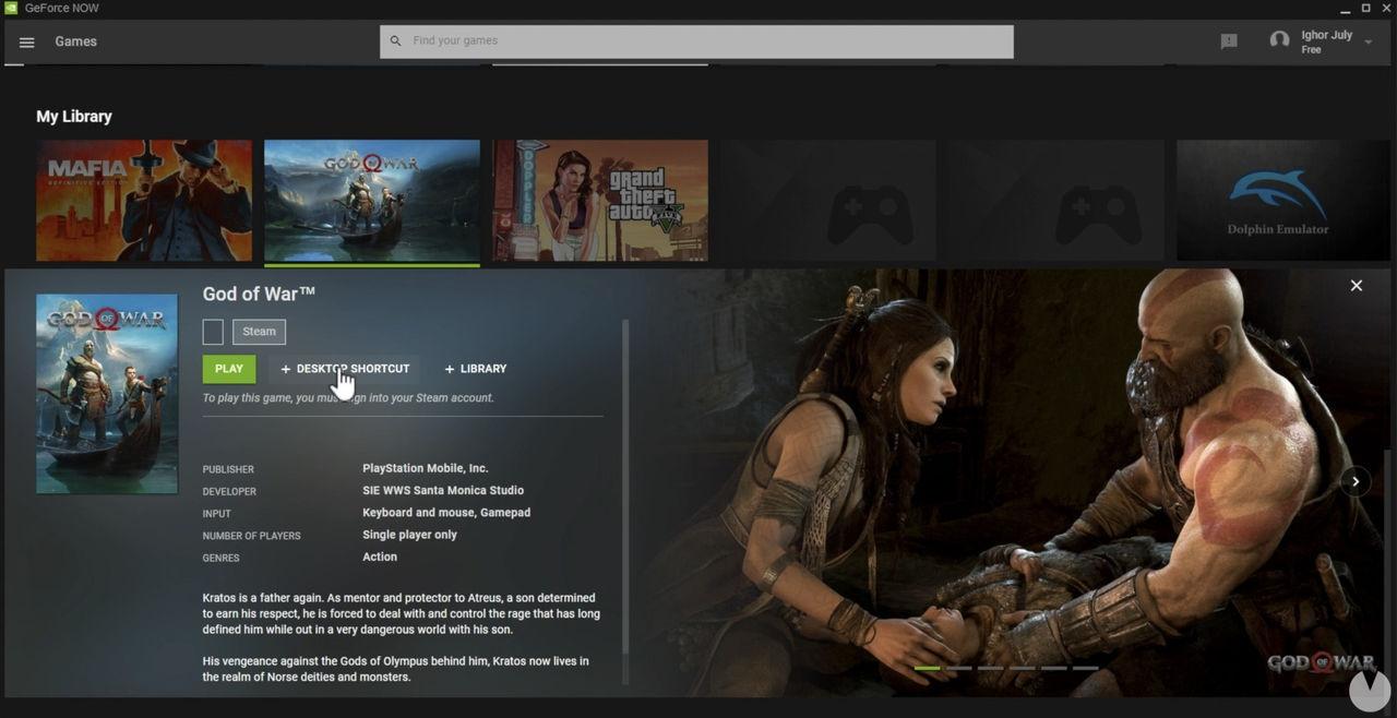 God of War para PC a través de GeForce Now y Steam.