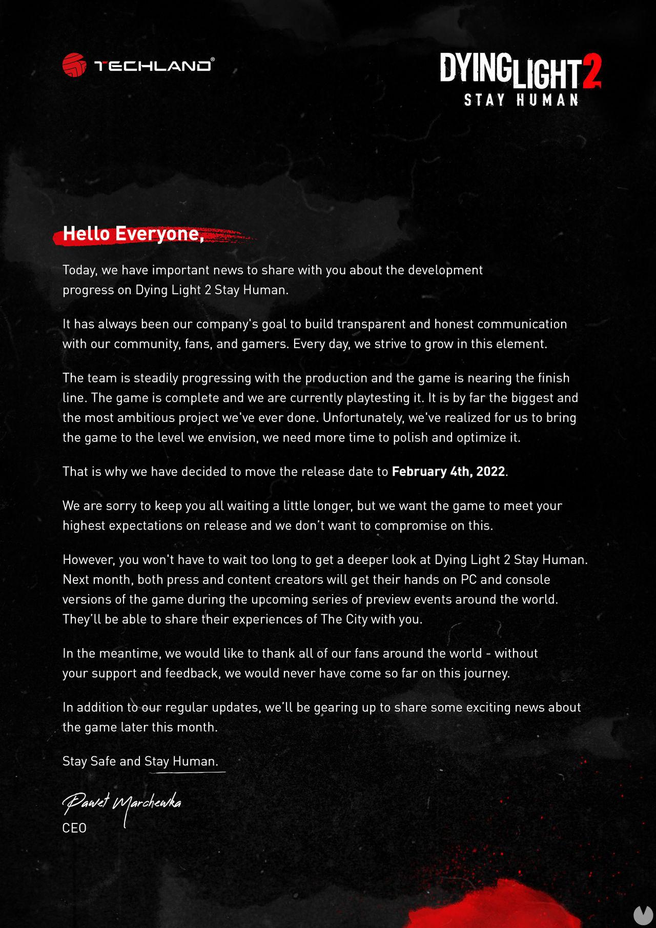 Mensaje retraso Dying Light 2