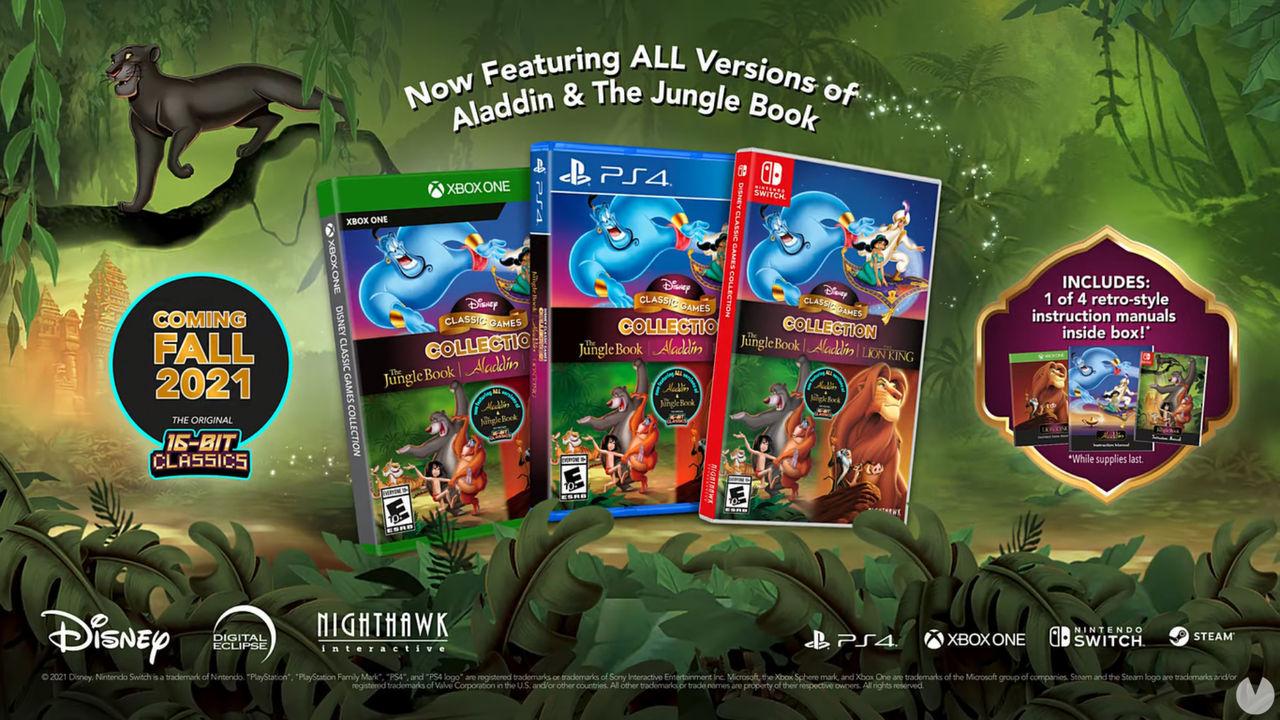 Edición física de Disney Classic Games Collection con Aladdin, El Libro de la Selva y El Rey León.