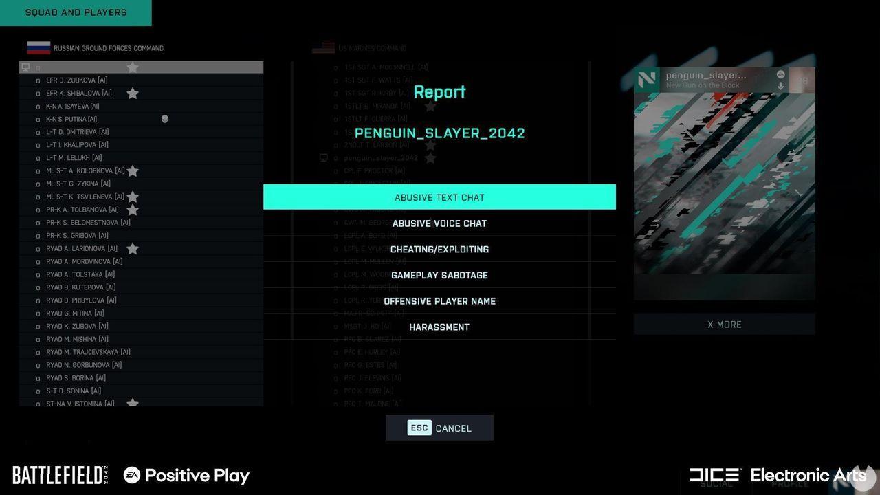 Battlefield 2042 herramienta de reporte