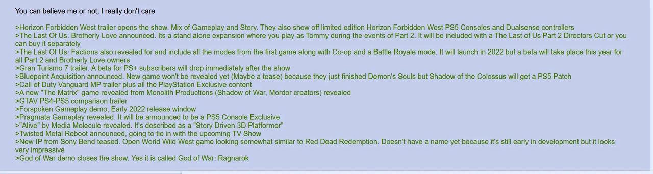 Juego falso rumor de PlayStation Showcase