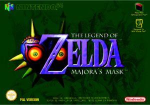 Portada oficial de Zelda: Majora's Mask para Nintendo 64